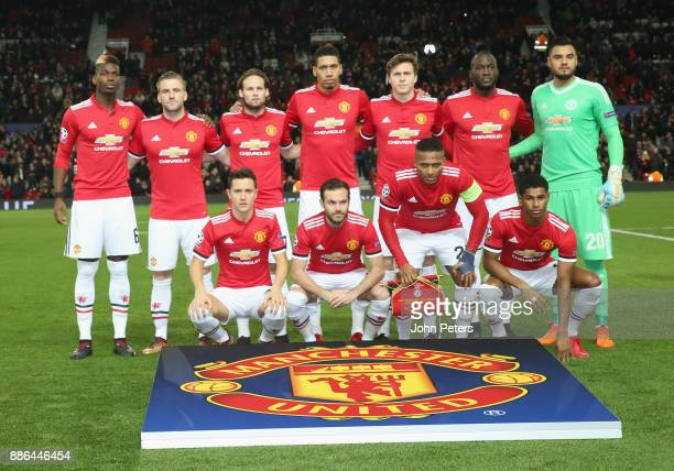 The Manchester United team line up ahead of the UEFA Champions League group A match between Manchester United and CSKA Moskva at Old Trafford on...