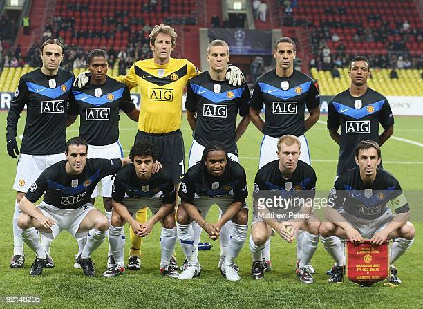 The Manchester United team line up ahead of the UEFA Champions League match between CSKA Moscow and Manchester United at Luzhniki Stadium on October...