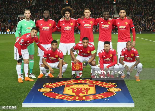 The Manchester United team line up ahead of the UEFA Champions League Round of 16 Second Leg match between Manchester United and Sevilla FC at Old...