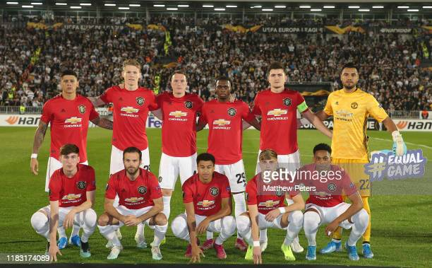 The Manchester United team line up ahead of the UEFA Europa League group L match between Partizan and Manchester United at Partizan Stadium on...