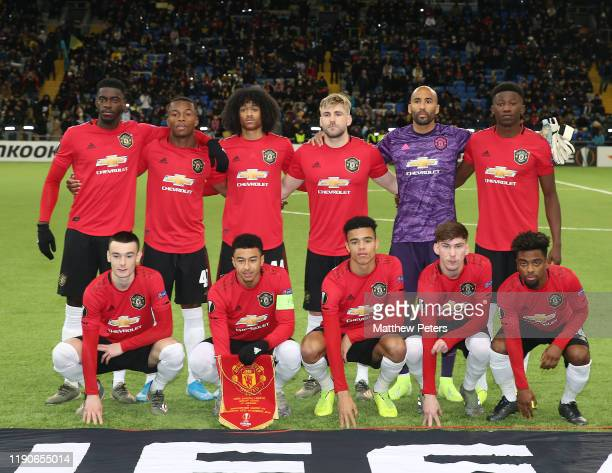 The Manchester United team line up ahead of the UEFA Europa League group L match between FK Astana and Manchester United at Astana Arena on November...