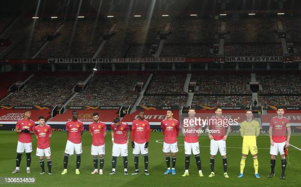 The Manchester United team line up ahead of the UEFA Europa League Round of 16 First Leg match between Manchester United and A.C. Milan at Old...
