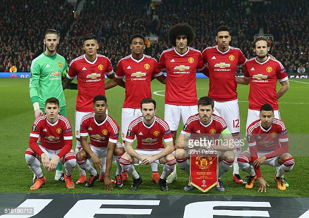 The Manchester United team line up ahead of the UEFA Europa League Round of 16 Second Leg match between Manchester United and Liverpool at Old...