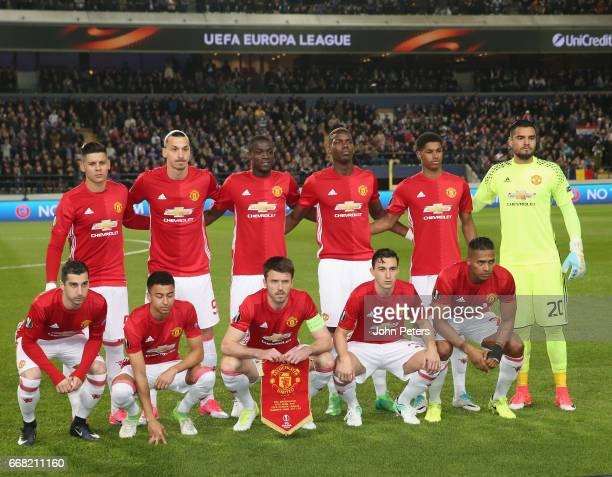 The Manchester United team line up ahead of the UEFA Europa League quarter final first leg match between RSC Anderlecht and Manchester United at...