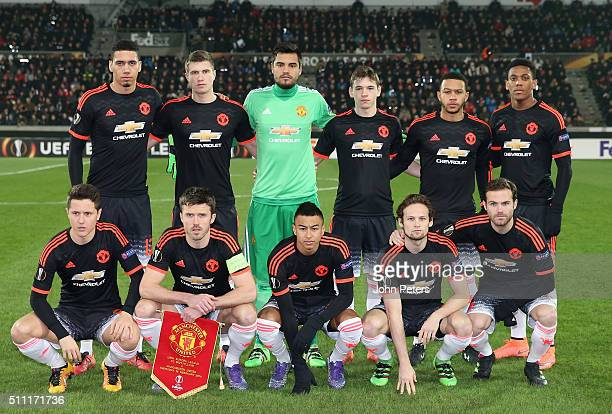 The Manchester United team line up ahead of the UEFA Europe League match between FC Midtjylland and Manchester United on February 18 2016 at MCH...