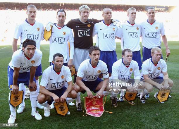 The Manchester United team line up ahead of the Vodacom Challenge preseason friendly match between Kaizer Chiefs and Manchester United at Newlands...