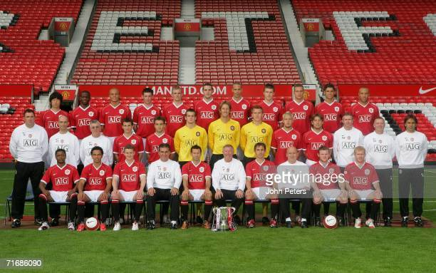The Manchester United team line up during the official team photocall at Old Trafford on August 21 2006 in Manchester England Back Row JiSung Park...