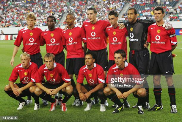 The Manchester United team line up for a team Photo ahead of during the ChampionsWorld Series preseason friendly match between Manchester United and...