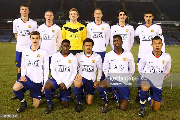 The Manchester United team lines up ahead of the FA Youth Cup Fourth Round match between Burnley and Manchester United at Turf Moor on January 13...