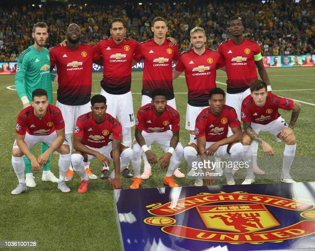 The Manchester United team lines up ahead of the Group H match of the UEFA Champions League between BSC Young Boys and Manchester United at Stade de...