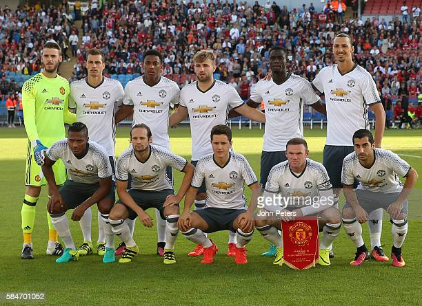 The Manchester United team lines up ahead of the preseason friendly match between Manchester United and Galatasaray at Ullevi on July 30 2016 in...