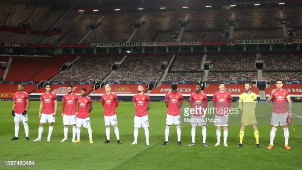 The Manchester United team lines up ahead of the UEFA Champions League Group H stage match between Manchester United and İstanbul Basaksehir at Old...