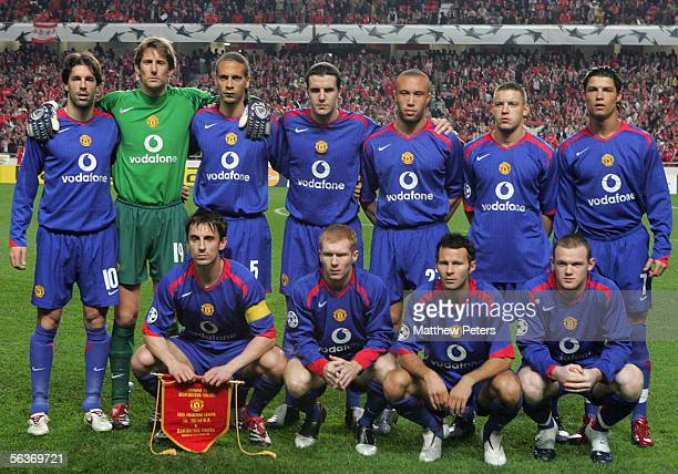 The Manchester United team lines up ahead of the UEFA Champions League match between Benfica and Manchester United at the Stadium of Light on...