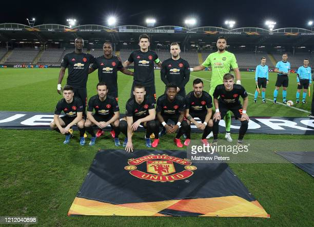 The Manchester United team lines up ahead of the UEFA Europa League round of 16 first leg match between LASK and Manchester United at Linzer Stadion...