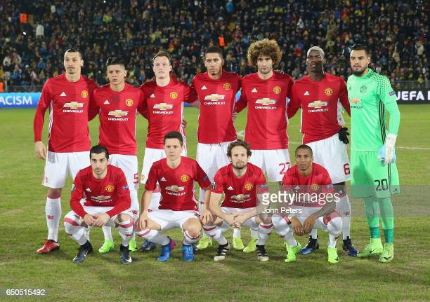 The Manchester United team lines up ahead of the UEFA Europa League Round of 16 first leg match between FK Rostov and Manchester United at Olimp2 on...