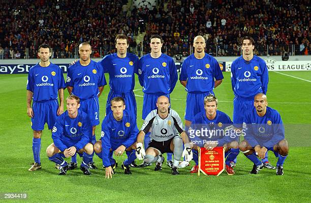 The Manchester United Team lineup From left to right, Ryan Giggs, Mikael Silvestre, Laurent Blanc, John O'Shea, Rio Ferdinand and Ruud Van...