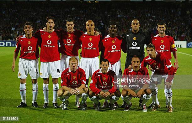 The Manchester United team to face Lyon during the UEFA Champions League Group D match between Olympique Lyonnais and Manchester United at the...