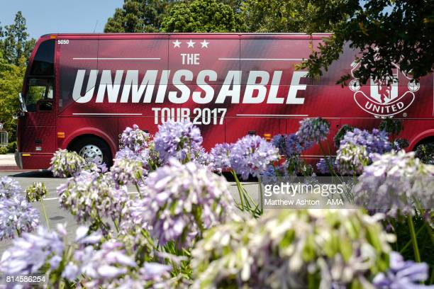 The Manchester United team Unmissable Tour 2017 bus, without images of the players at the Manchester United Open Training Session at UCLA on July 14,...