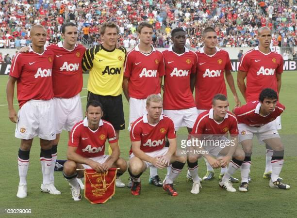 The Manchester United team Wes Brown, John O'Shea, Tomasz Kuszczak, Jonny Evans, Danny Welbeck, Federico Macheda, Gabriel Obertan Ryan Giggs, Paul...
