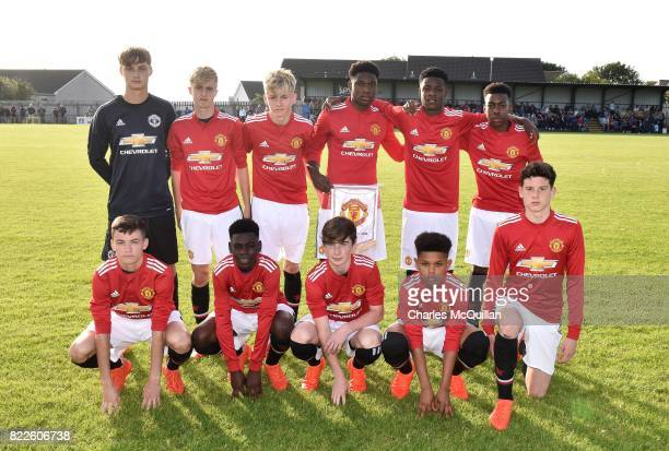 The Manchester United u16 starting XI pose for a team photograph before their NI Super Cup junior section game against Colina at Seahaven on July 24...