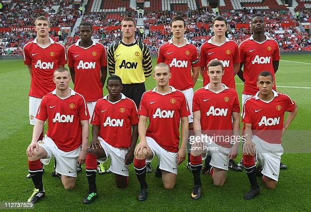 The Manchester United U18 Academy team line up ahead of the FA Youth Cup sponsored by Eon SemiFinal second leg match between Manchester United and...