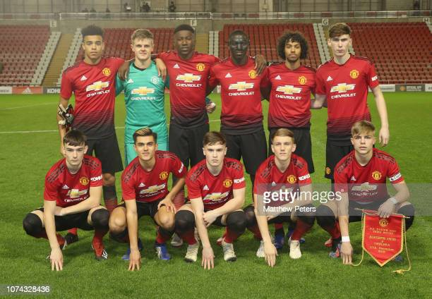 The Manchester United U18 team line up ahead of the FA Youth Cup Third Round match between Manchester United U18s and Chelsea U18s at Leigh Sports...