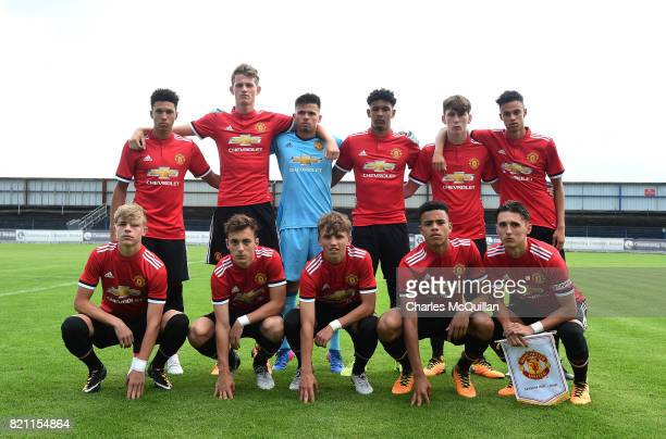 The Manchester United u18s starting XI pictured before their NI Super Cup game with Northern Ireland u18s at the Showgrounds on July 22 2017 in...