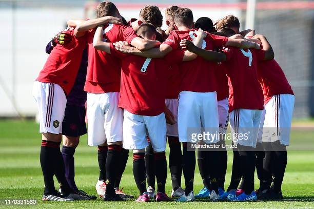 The Manchester United U18s team huddle ahead of the U18 Premier League match between Manchester United U18s and Blackburn Rovers U18s at Aon Training...