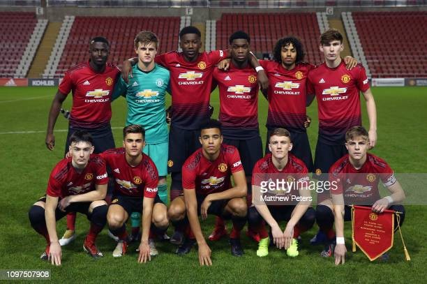 The Manchester United U18s team line up ahead of the FA Youth Cup 4th Round match between Manchester United U18s and Brighton Hove Albion U18s at...