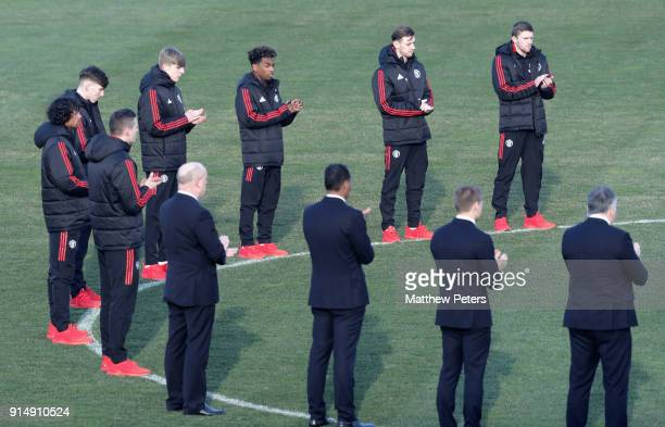The Manchester United U19 squad take part in a minute's silence in memory of the victims of the Munich Air Disaster on the 60th anniversary at...