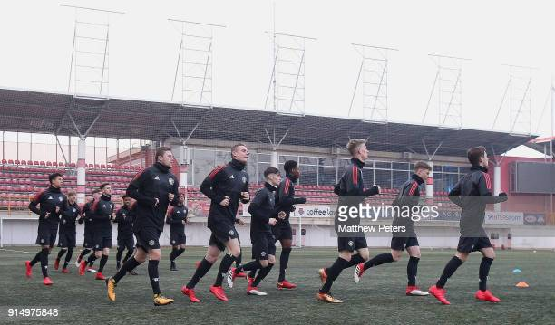 The Manchester United U19s squad in action during a training session at Vozdovac Stadium on February 6 2018 in Belgrade Serbia