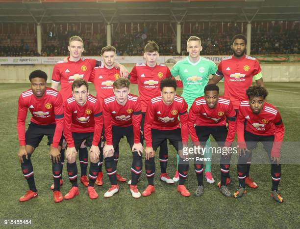 The Manchester United U19s team line up ahead of the UEFA Youth League match between FK Brodarac U19s and Manchester United U19s at Vozdovac Stadium...