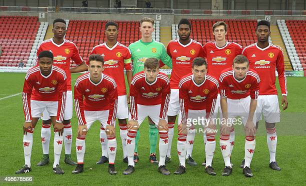 The Manchester United U19s team line up ahead of the UEFA Youth League match between Manchester United U19s and PSV Eindhoven U19s at Leigh Sports...