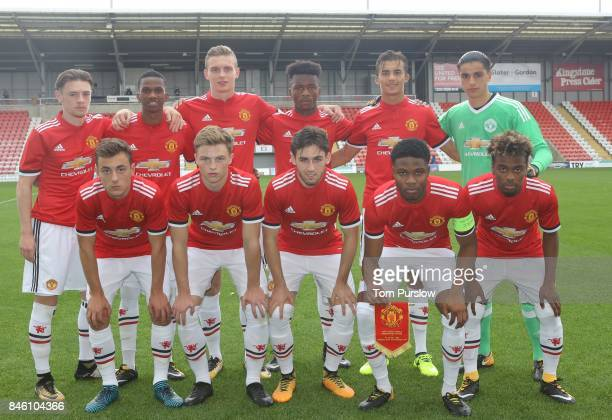 The Manchester United U19s team line up ahead of the UEFA Youth League match between Manchester United U19s and FC Basel U19s at Leigh Sports Village...
