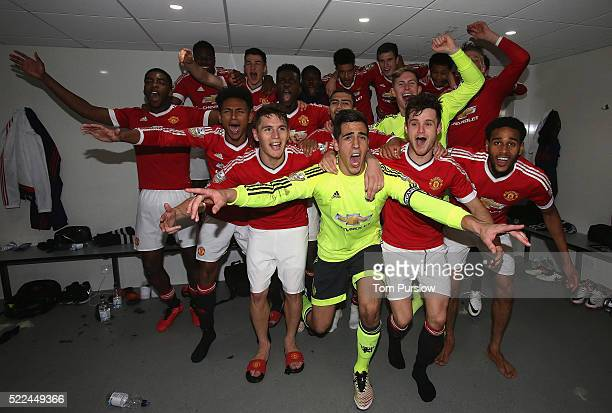 The Manchester United U21s squad celebrate winning the U21s League after the Barclays U21 Premier League match between Tottenham Hotspur U21s and...