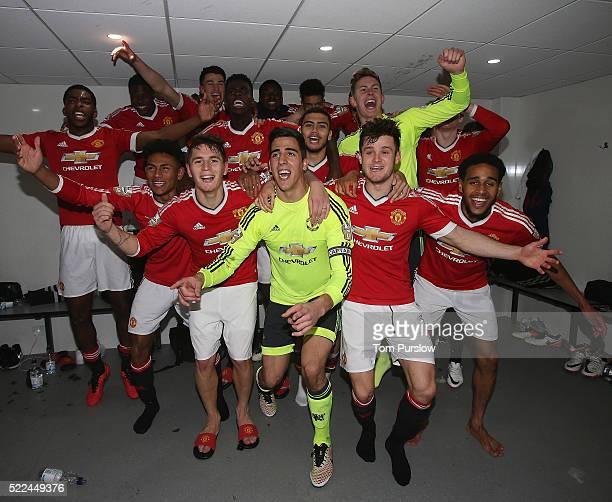 The Manchester United U21s squad celebrate winning the U21s League after the Barclays U21 Premier League match between Tottenham Hotspur U21s and...