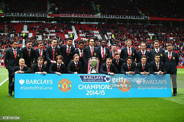 The Manchester United Under21 squad celebrate with the Barclays U21 Premier League trophy prior to the Barclays Premier League match between...