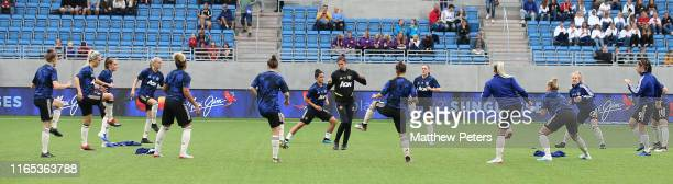 The Manchester United Women squad warm up ahead of the preseason friendly match between Valerenga and Manchester United Women at Intility Arena on...
