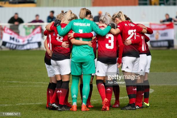 The Manchester United Women team go into a huddle ahead of the WSL 2 match between Tottenham Hotspur Women and Manchester United Women on March 31...