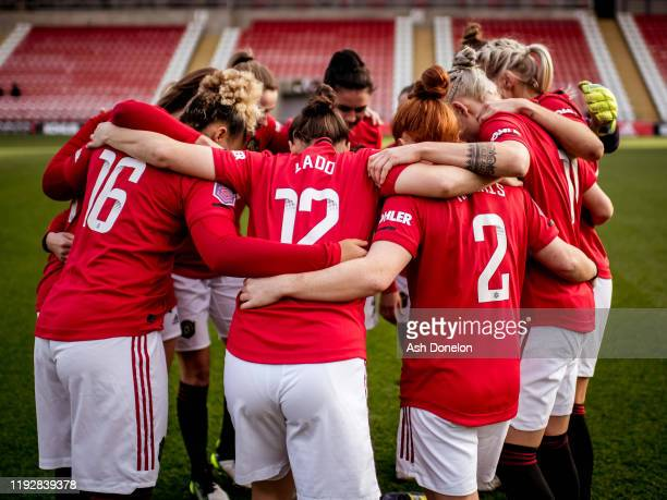 The Manchester United Women team huddle ahead of the Barclays FA Women's Super League match between Manchester United and Everton at Leigh Sports...