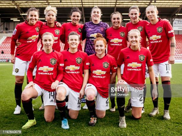The Manchester United Women team line up ahead of the Barclays FA Women's Super League match between Manchester United and Everton at Leigh Sports...