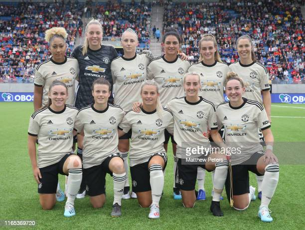 The Manchester United Women team line up ahead of the preseason friendly match between Valerenga and Manchester United Women at Intility Arena on...