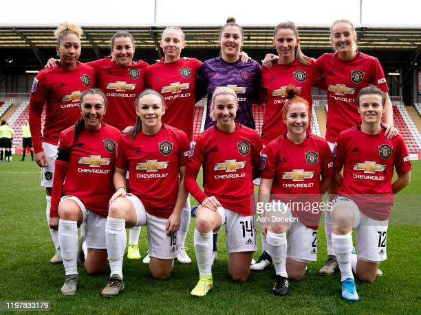 The Manchester United Women team line up ahead of the WSL match between Manchester United Women and Bristol City Women at Leigh Sports Village on...