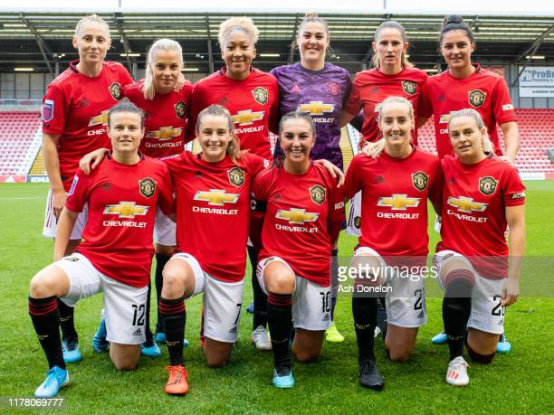The Manchester United Women tean line up ahead of the Barclays FA Women's Super League match between Manchester United and Liverpool at Leigh Sports...