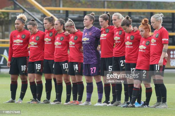 The Manchester United Womens team during a minutes silence prior to the FA Continental League Cup match between Everton Women and Manchester United...