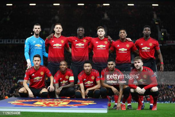The Manchester United XI during the UEFA Champions League Round of 16 First Leg match between Manchester United and Paris SaintGermain at Old...