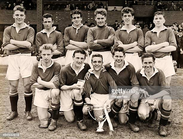 The Manchester United Youth football team with their trophy after defeating West Bromwich Albion by a score of 3-0 in the FA Youth Challenge Cup...
