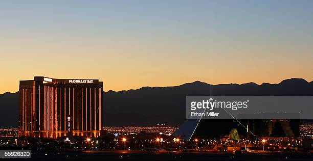The Mandalay Bay Resort Casino and the Luxor Hotel and Casino are shown October 14 2005 in Las Vegas Nevada