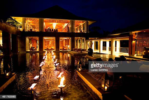 The Mandarin Oriental hotel resort welcomes guests at dusk on August 15 2010 in Sanya Hainan province China Sanya is the southernmost city of Hainan...
