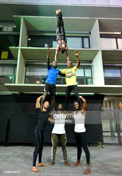 The Mandingo Circus of Guinea Conakry performs on March 12 at the Institut Francais of Abidjan during the MASA / RESTRICTED TO EDITORIAL USE...